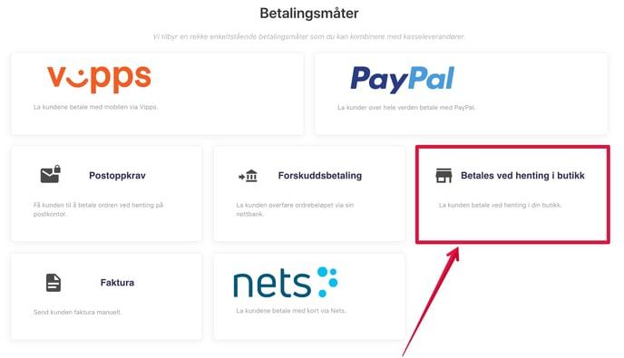 Butikk-betalingsmåte