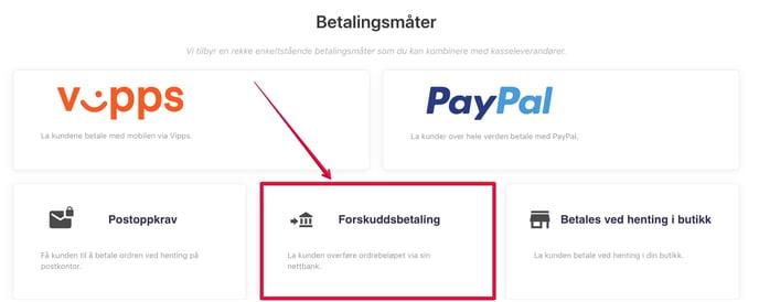 Forskuddsbetaling-betalingsmåte