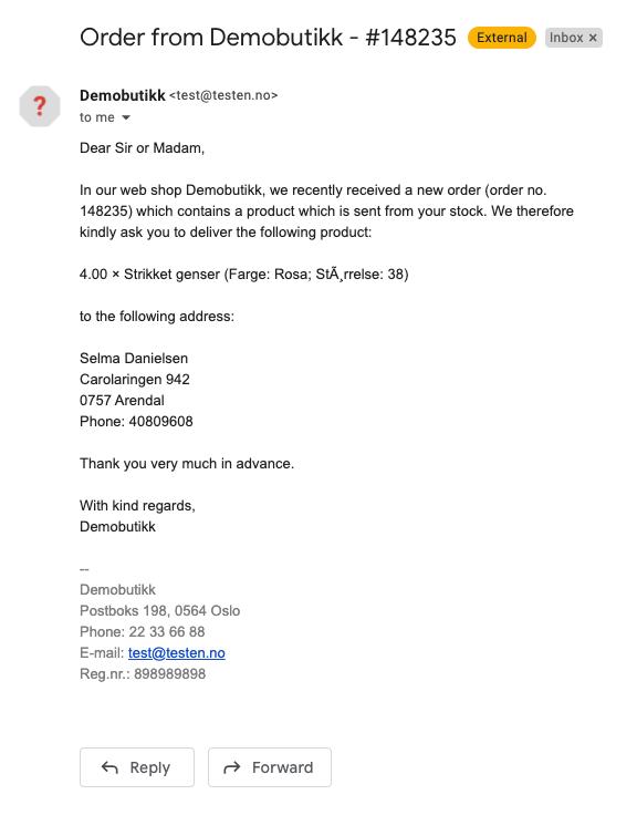Order from Demobutikk - #148235 - gerdmarit@24nettbutikk.no - Sincos Software AS Mail 2021-06-02 08-53-19