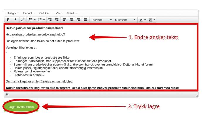 endre tekst, produktanmeldelser